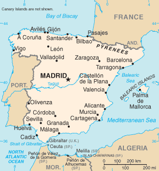 CIA map of Spain.