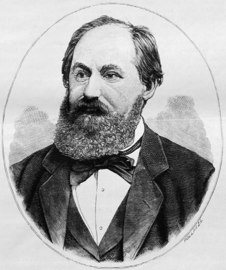 Steindl Imre portréja. Pollák Zsigmond metszete (1884)