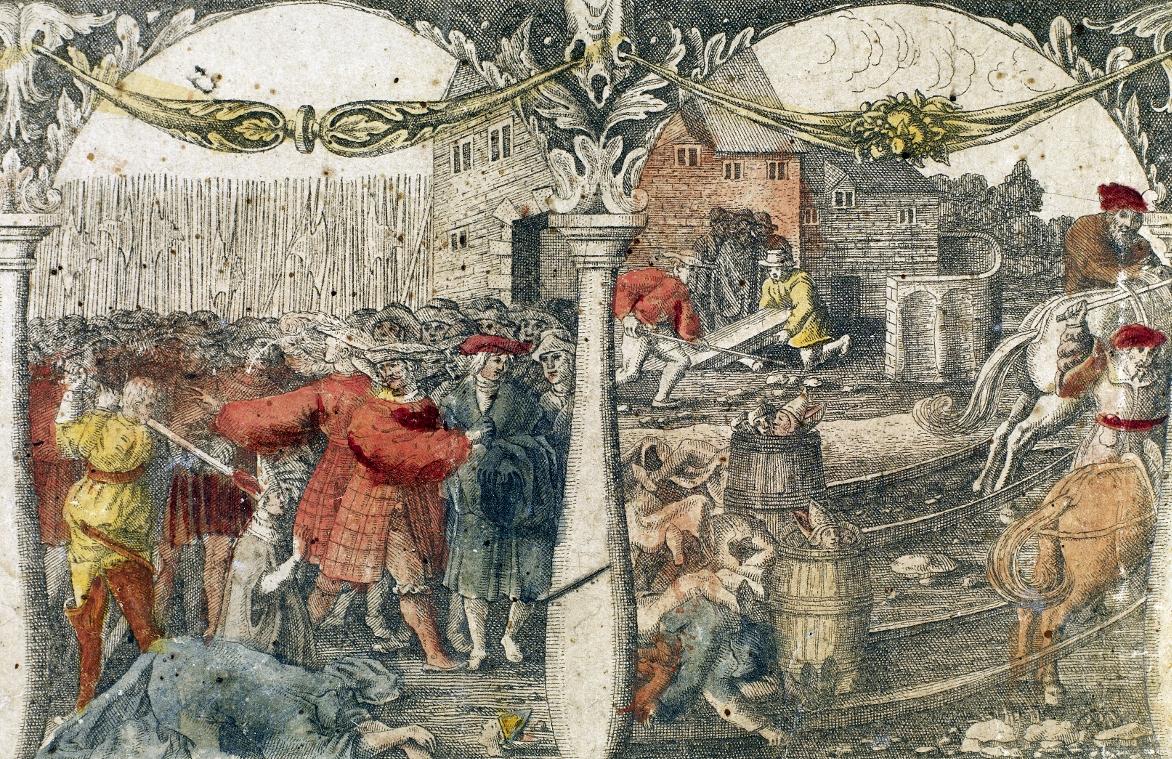 Stockholmer Blutbad (handkolorierter Kupferstich von 1676 nach einem Holzschnitt von 1524).