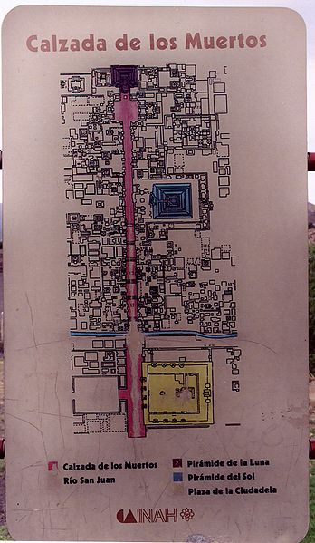 File Teotihuacan Calzada De Los Muertos Plan Of The City Sign Jpg Wikimedia Commons