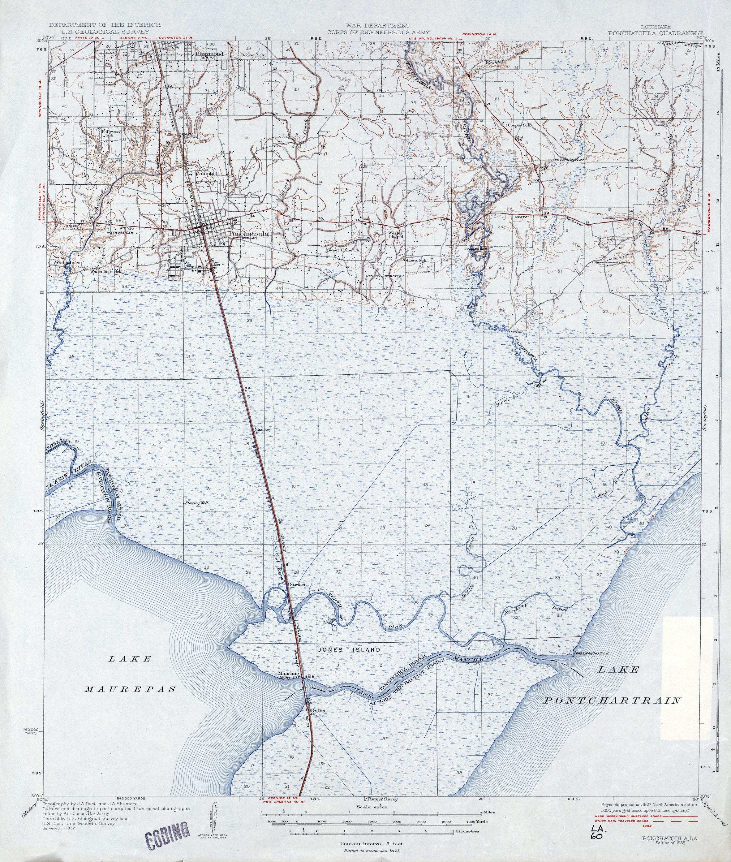 File Tangipahoa Parish Louisiana Map 1935 Ponchatoula Pass Manchac