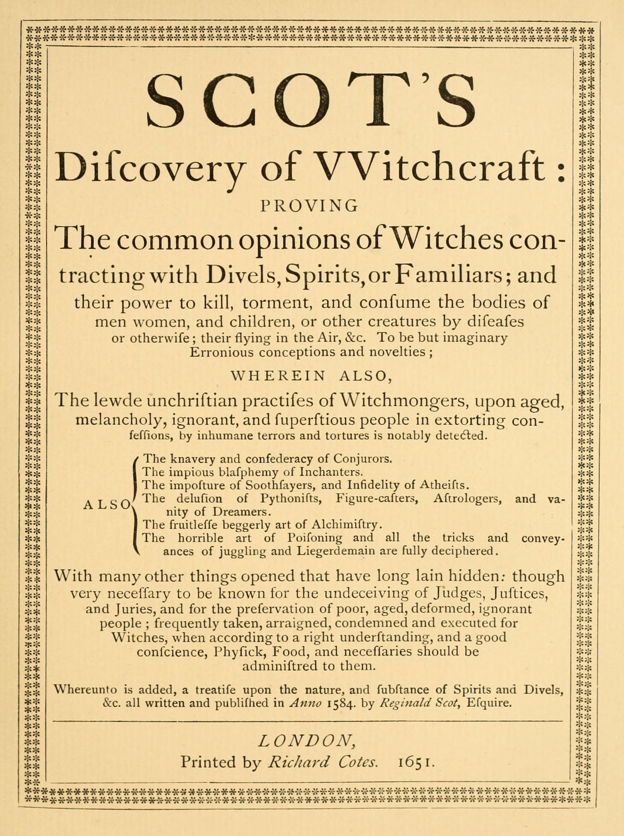 The Discoverie of Witchcraft - Wikipedia
