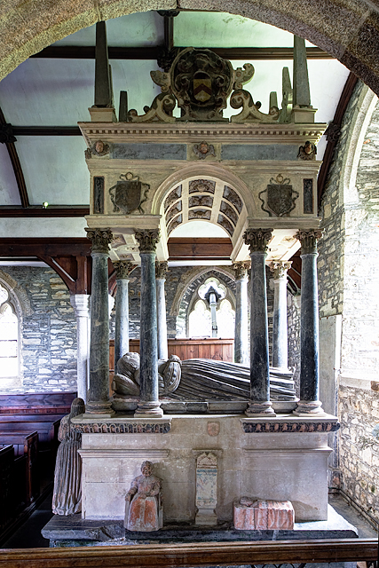 Monument to Sir Thomas Wise in St Mary's Church, Marystow ThomasWise OfSydenham Died1630 MarystowChurch Devon.jpg