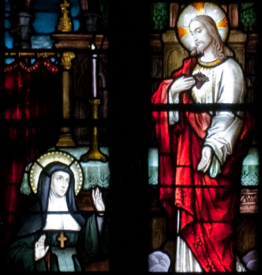 St Margaret Mary beholds the Sacred Heart of Jesus