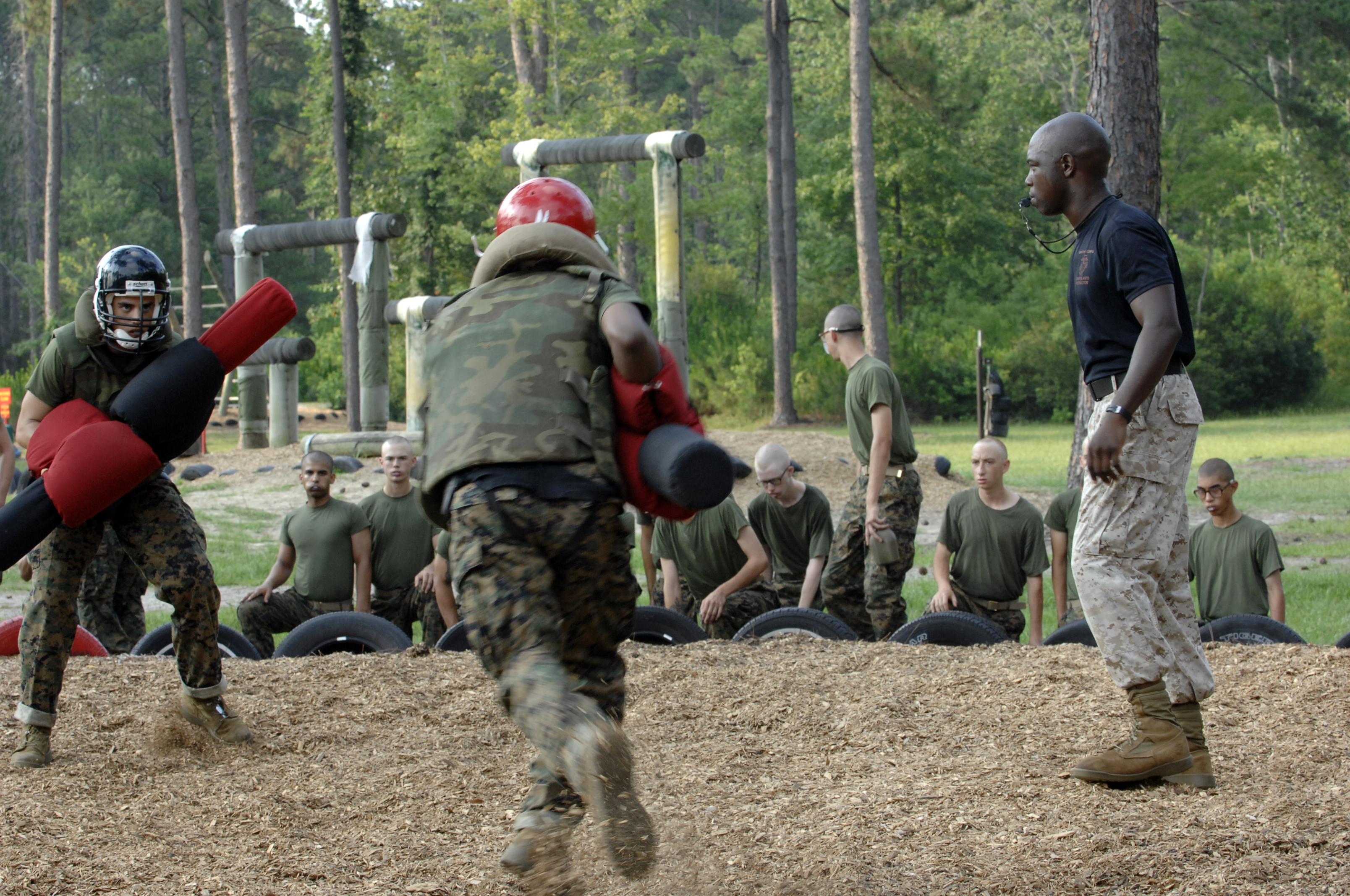 At Marine Corps Recruit Depot, Parris Island, Marine Corps recruits