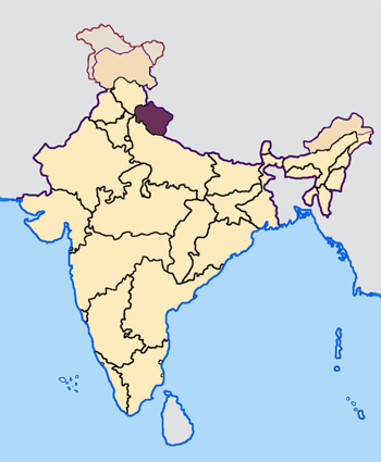 Map of India with the location of ఉత్తరాఖండ్ highlighted.