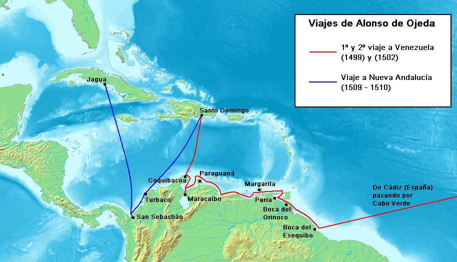 File viajes de alonso de ojeda png wikimedia commons for Cuarto viaje de cristobal colon