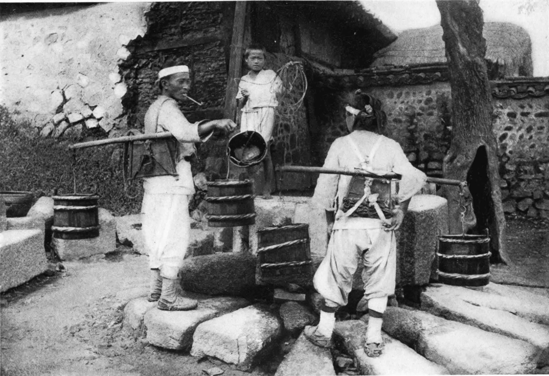 File Water Carriers At A Neighbourhood Well Korea C 1900