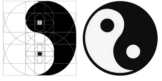 Yin yang from a golden spiral