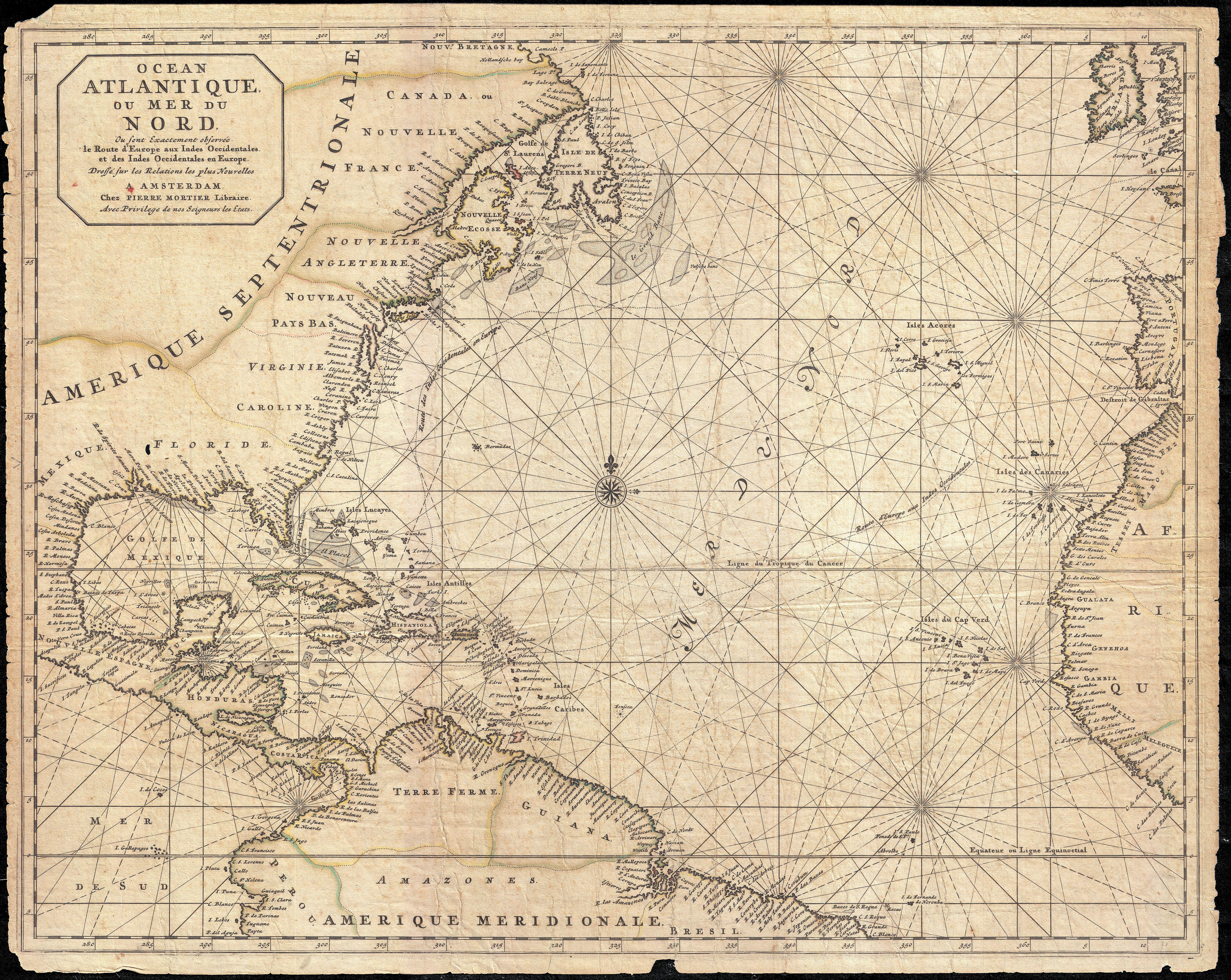 This Is A Rare And Remarkable Nautical Chart Of The Atlantic - Nautical maps atlantic us