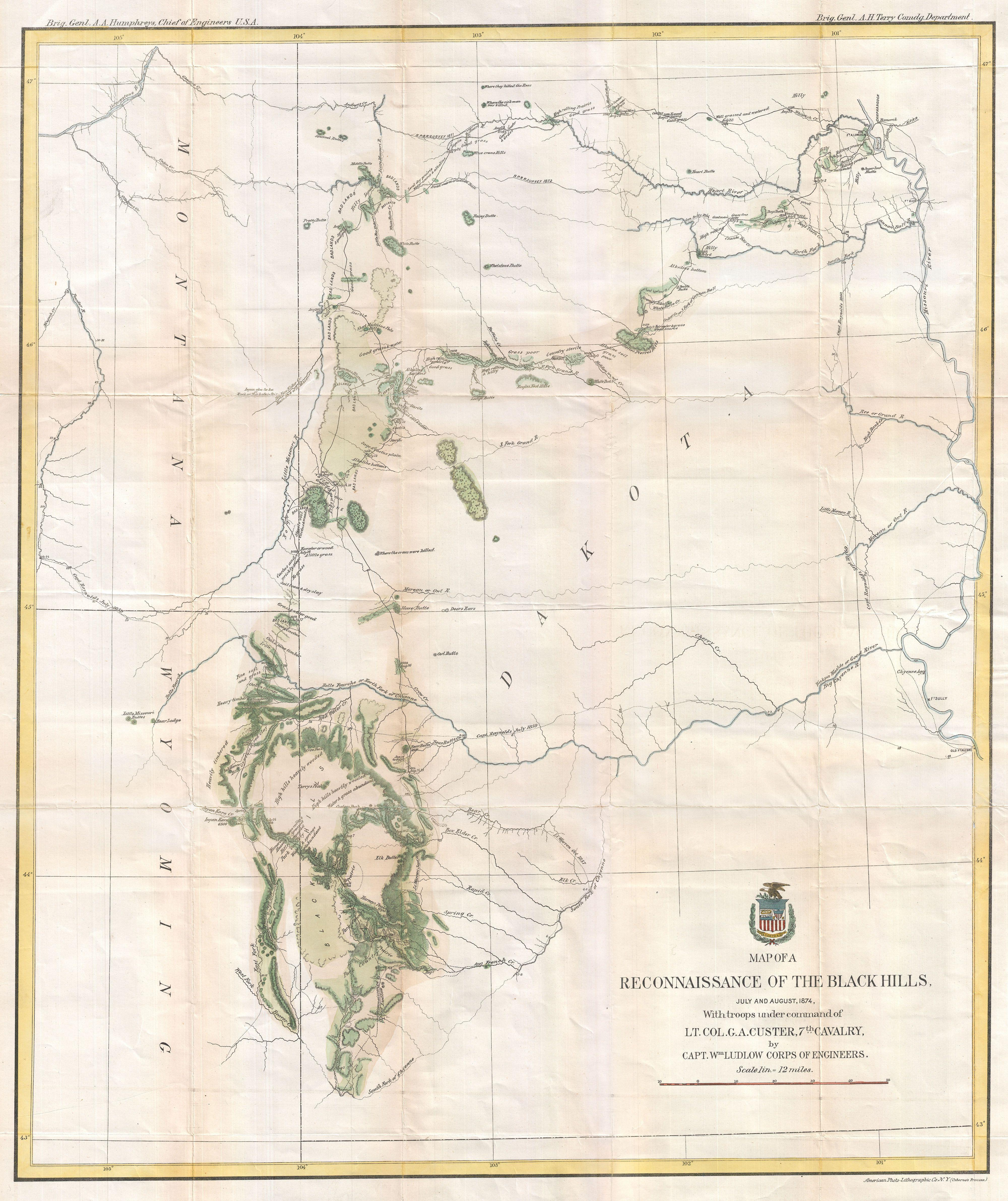 File1874 Ludlow and Custer Map of The Black Hills  Geographicus