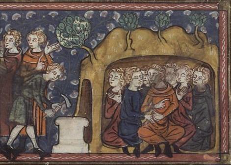 Richard de Montbaston og medarbeidere: Keiser Decius gir ordre om gjenmuring av hulen (Sept Dormants murés par Dèce) (1300-t), Vies de saints Français 185, Fol. 234v, Paris