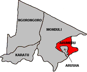 Localisation du district de Arumeru