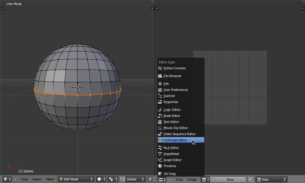 Blender icosphere and UV Image Editor.png