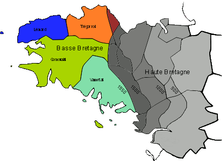 Lower Brittany (in colours), where the Breton language is traditionally spoken and Upper Brittany (in shades of grey), where the Gallo language is traditionally spoken. The changing shades indicate the advance of Gallo and French, and retreat of Breton from 900 AD.