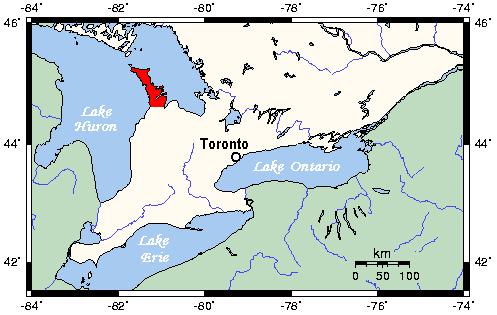 Map Of Bruce County Ontario Canada Bruce Peninsula   Wikipedia