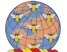 The bees represented in Manchester's official heraldic arms Coat of arms of Manchester City Council (cropped).png