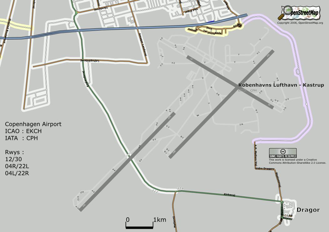 Mapa aeroporto de copenhaga