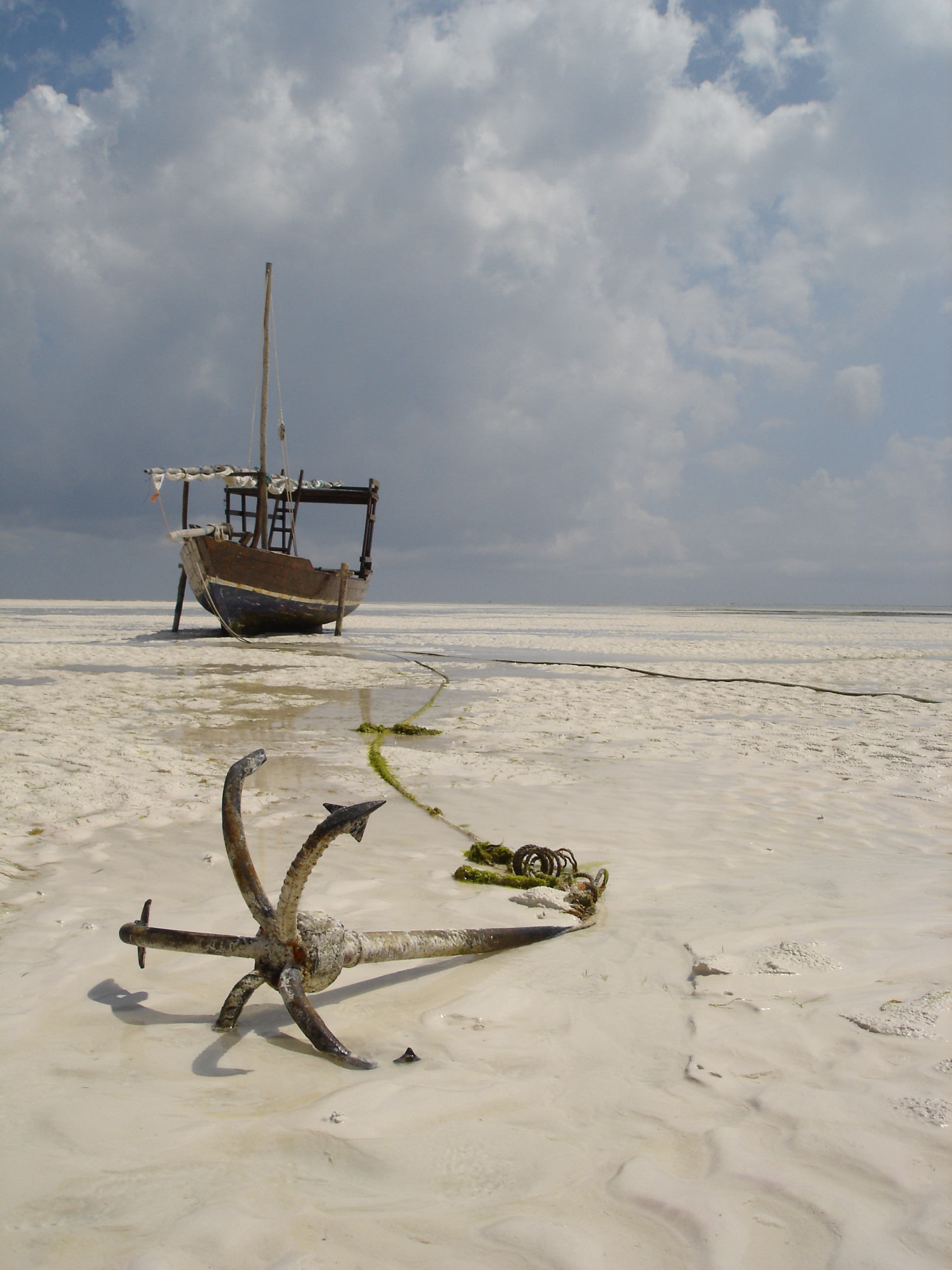 File Dhow And Anchor On The Beach East Coast Of Zanzibar Tanzania
