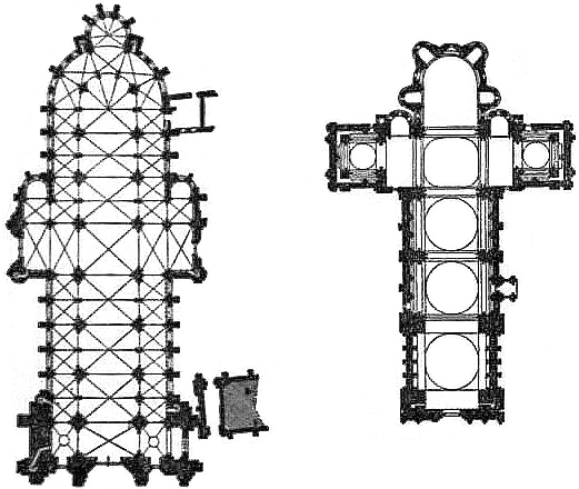 EB1911 Cathedral - Figs. 6 & 7.—Plan of Sens & Angouleme Cathedrals.jpg