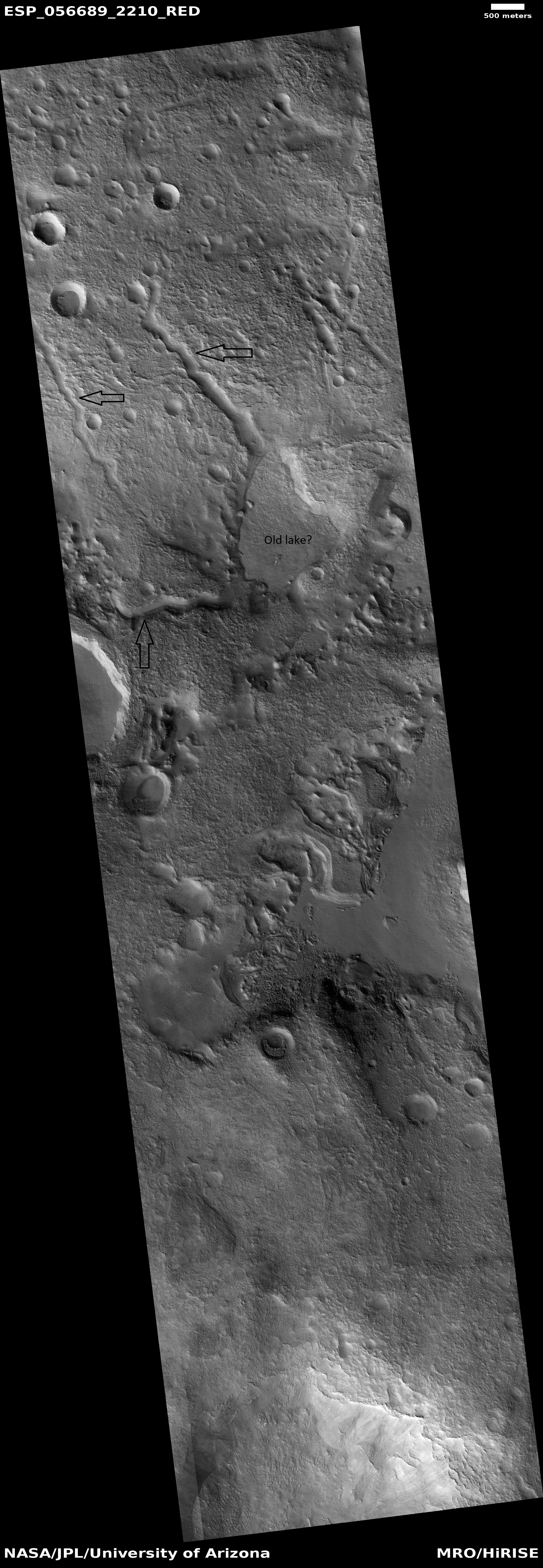 Channels that empty into a low area that could have been a lake, as seen by HiRISE under HiWish program