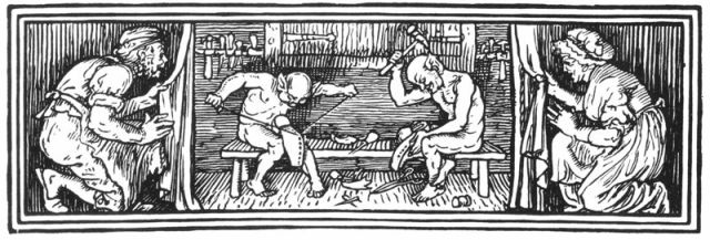 A scene from the Elves and the Shoemaker by Walter Crane.