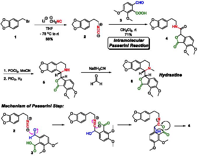 La totala sintezo de Falck de hidrastino, la mekanismo de la Paserini reago por sintezo de la esenca intermediato ankaŭ estas ilustrita