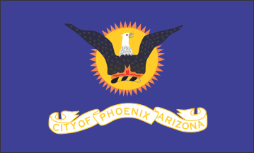 The former city flag of Phoenix, adopted in November 1921 Flag of Phoenix, Arizona (1921-1990).png