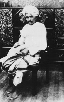 Mohandas K. Gandhi in 1918, when he led the Kh...