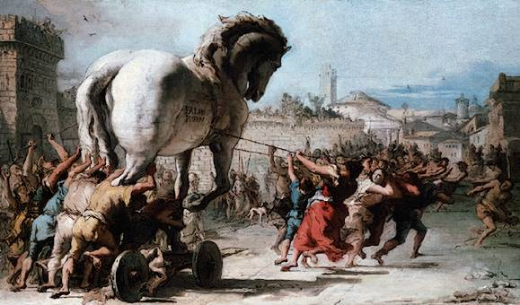Giovanni Domenico Tipeolo, Procession of the Trojan Horse in Troy, 1760