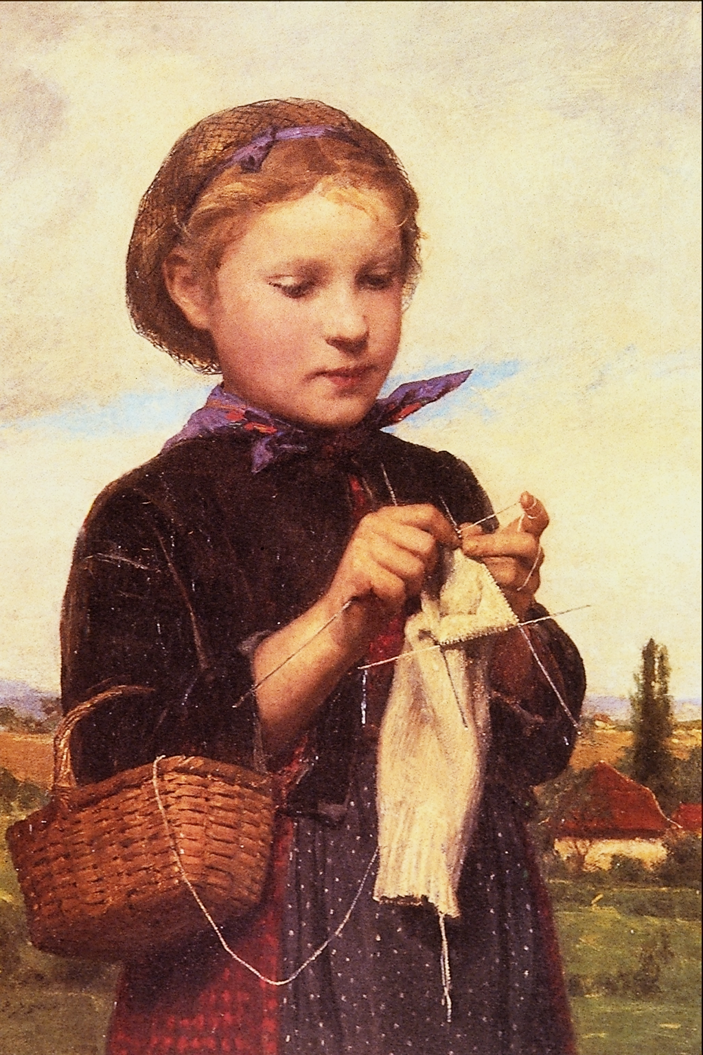 Knitting Artists : File girl knitting albert anker