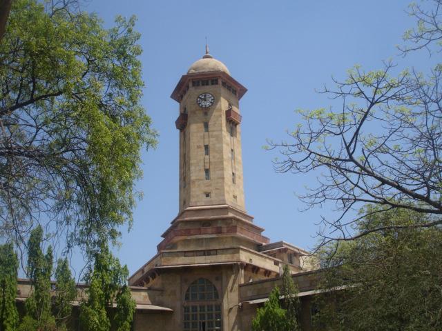 The Gujarat University clock tower in Ahmedabad