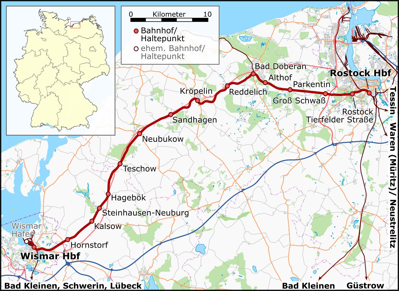 FileKarte Bahnstrecke WismarRostockpng Wikimedia Commons
