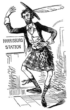 """The MacLincoln Harrisburg Highland Fling"", Vanity Fair, March 9, 1861."