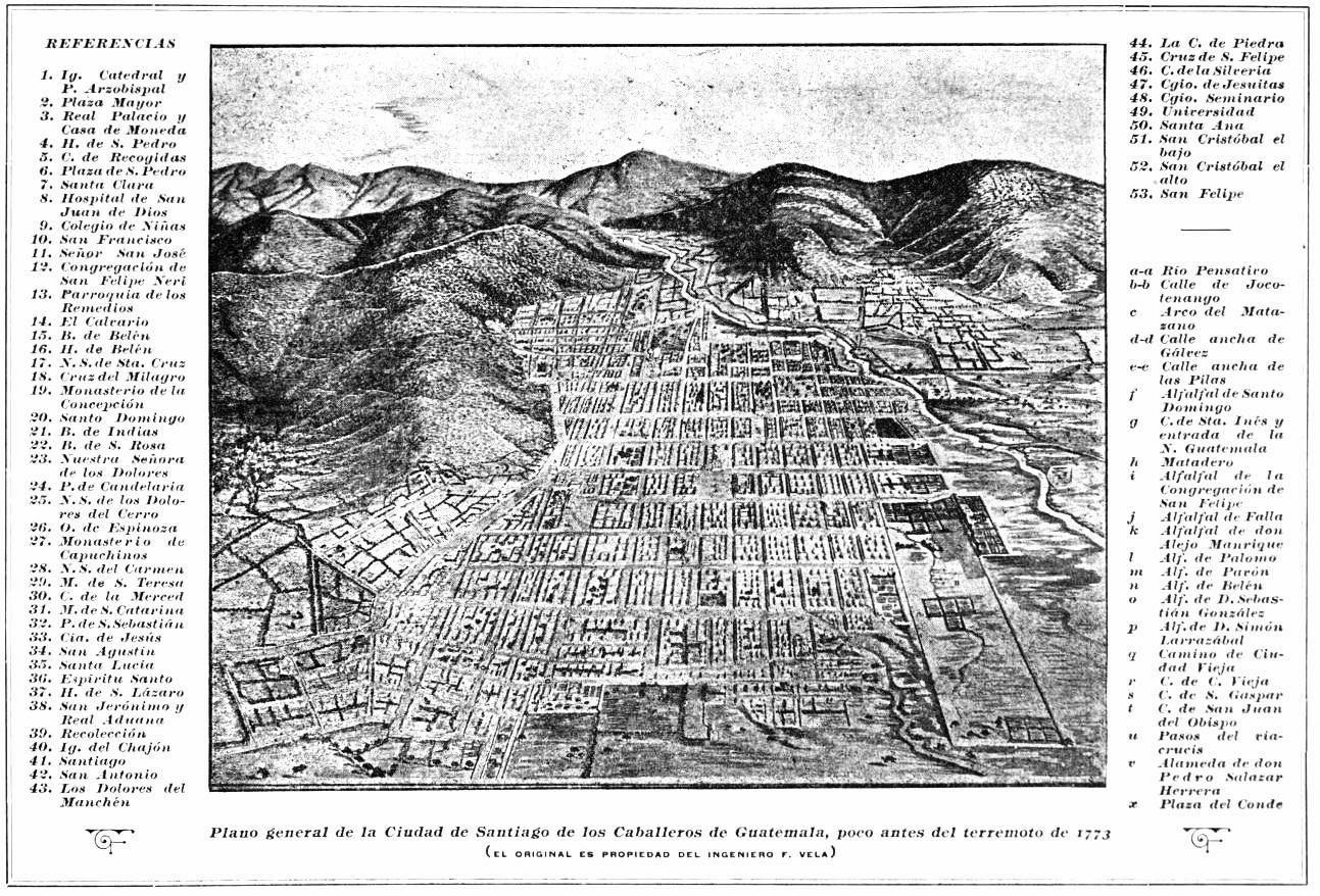 Ciudad de Santiago de  los Caballeros en 1773.