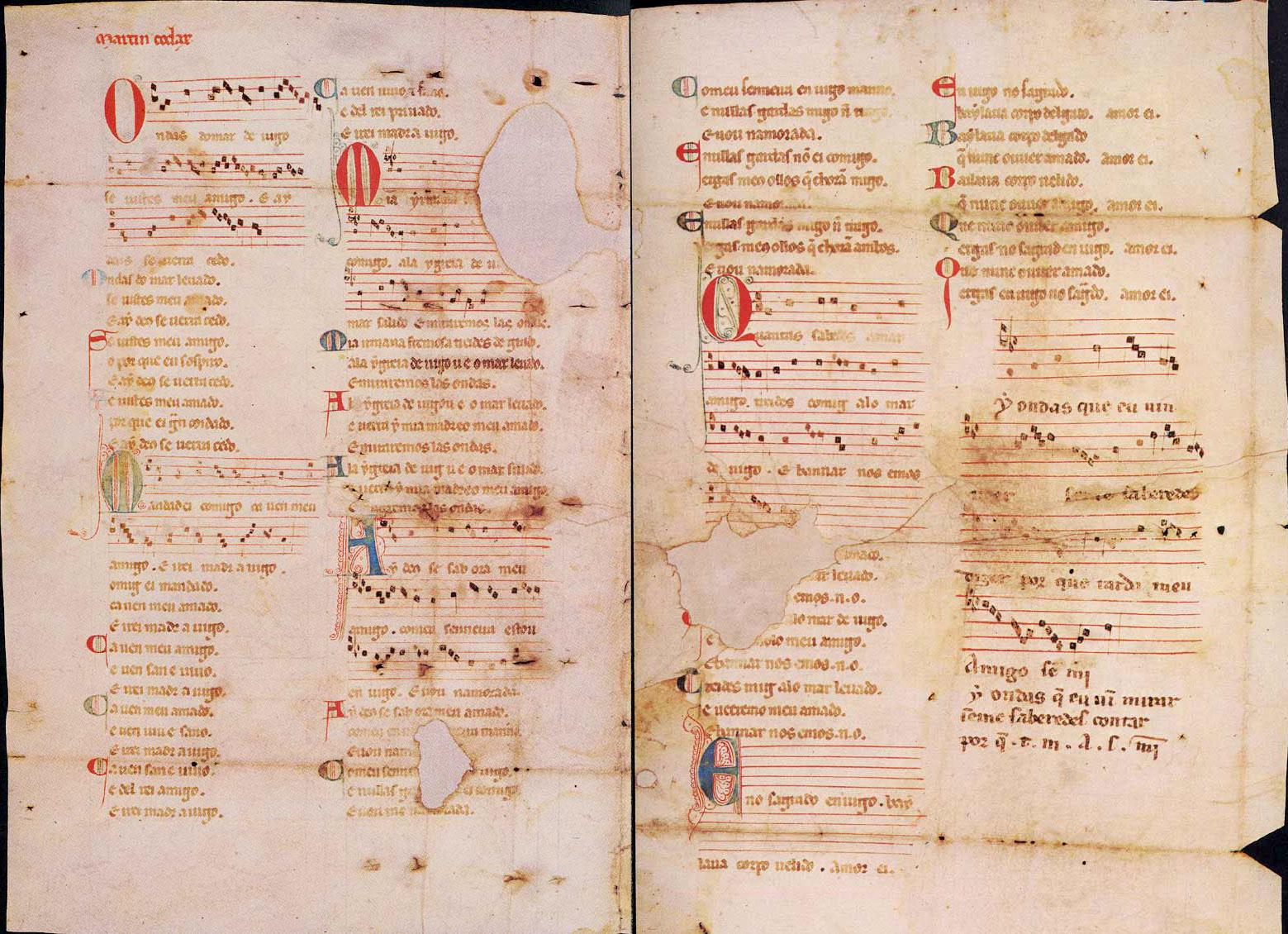 Cantigas de Amigo, pergaminho de Vindel (Ms. 979, Biblioteca de Pierpoint Morgan, Nova Iorque)