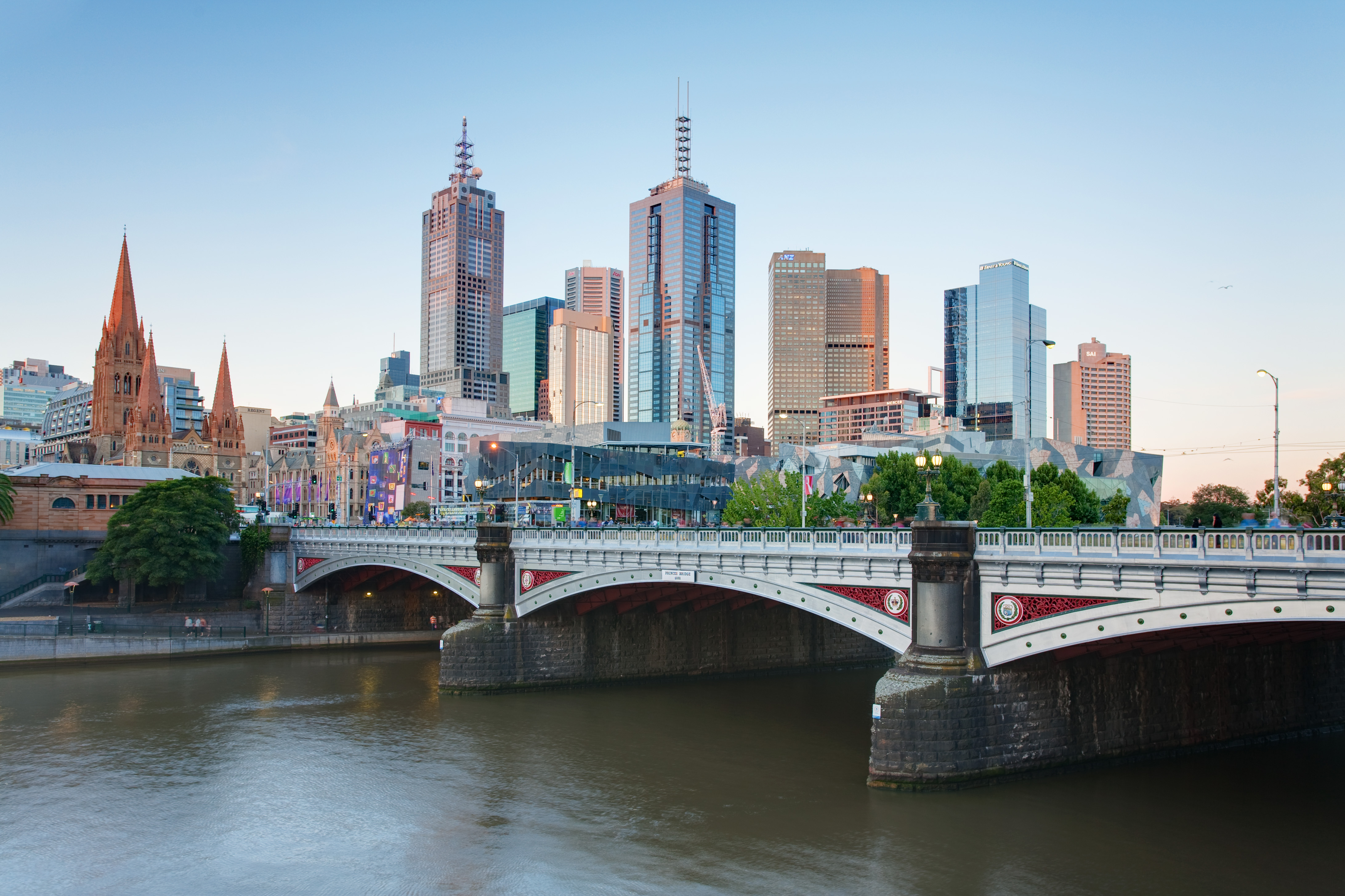 Fantastic view of the Melbourne skyline in all it glory and the Princes Bridge