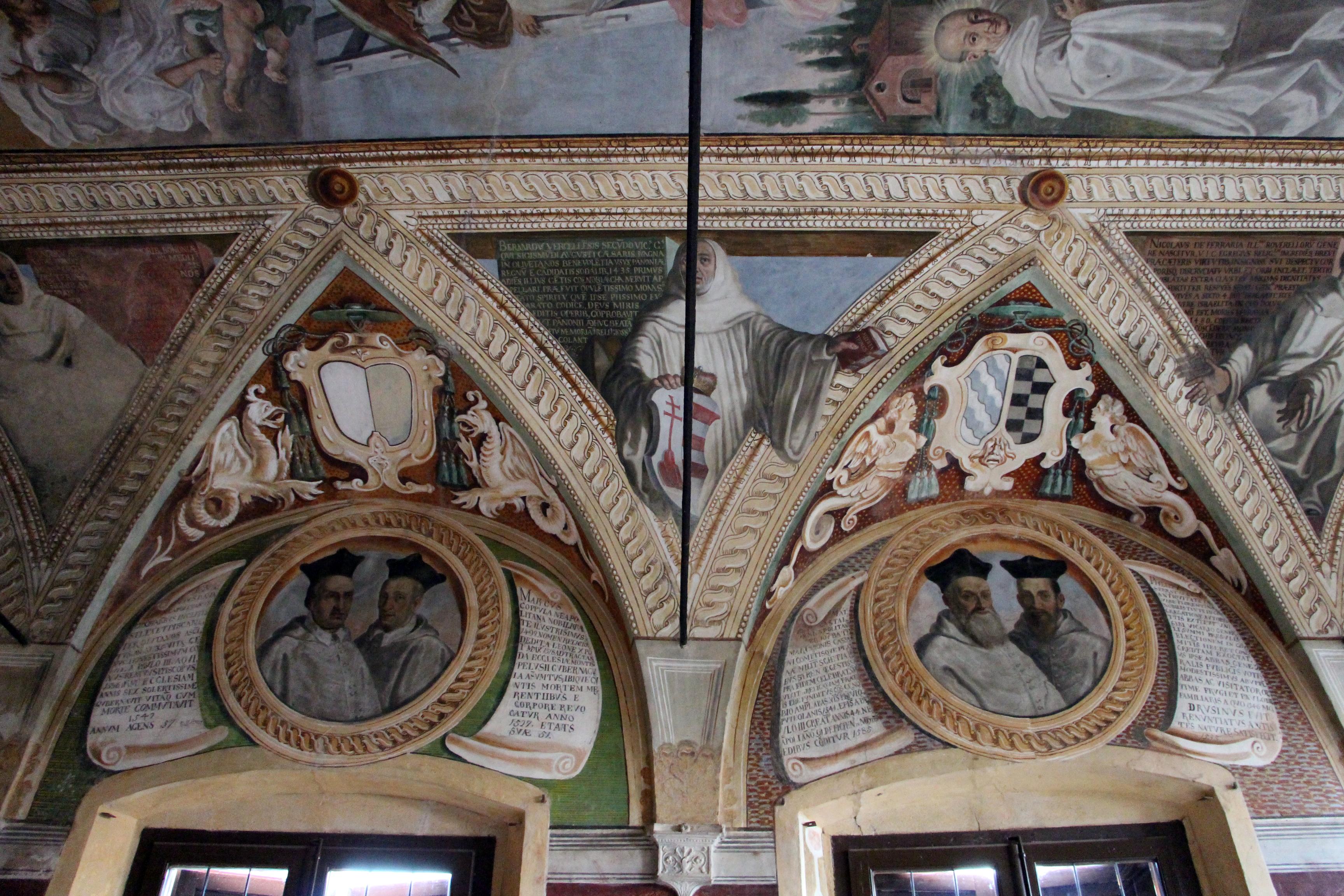 Monte Oliveto Maggiore, vestibolo della biblioteca, personaggi e fatti della congregazione olivetana (1631)