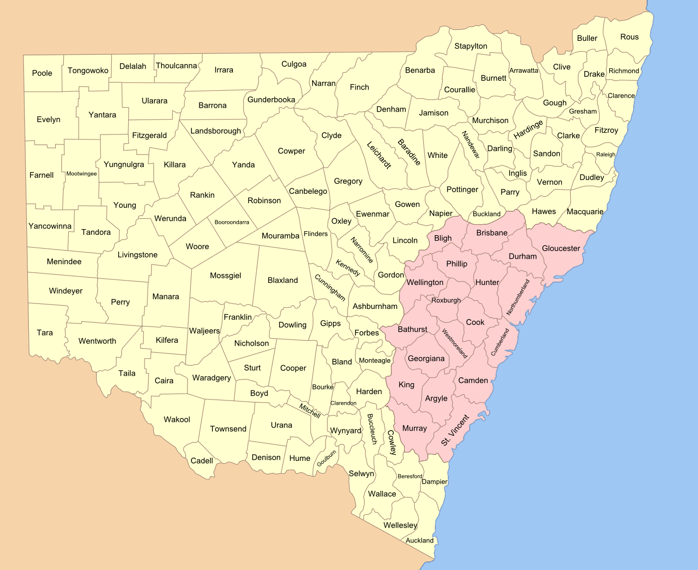 Map Of Australia New South Wales.Lands Administrative Divisions Of New South Wales Wikipedia