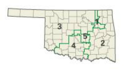 The Five congressional districts in Oklahoma.