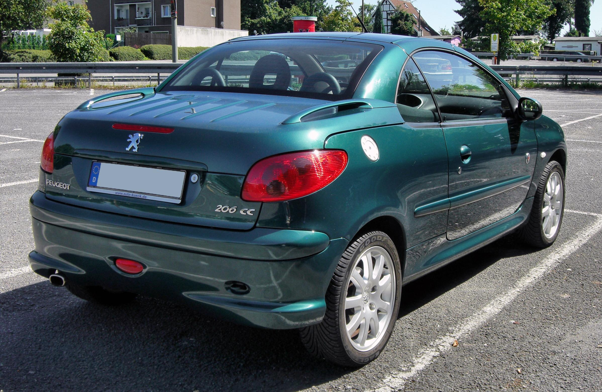 File Peugeot 206 Cc 20090815 Rear Jpg Wikimedia Commons