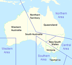 Map of Australia showing state borders, with RAAF area command boundaries superimposed