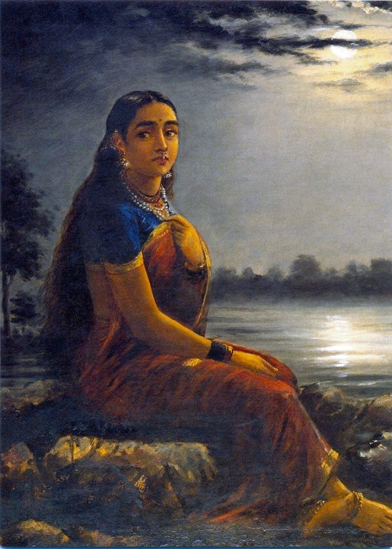 Lady with flower garland raja ravi varma wikigallery. Org, the.