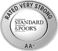 A logo of the Standard & Poor's AA- rating