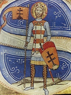Image of the King Saint Stephen I of Hungary, from the medieval codex Chronicon Pictum from the 14th century. SztIstvan 5.jpg