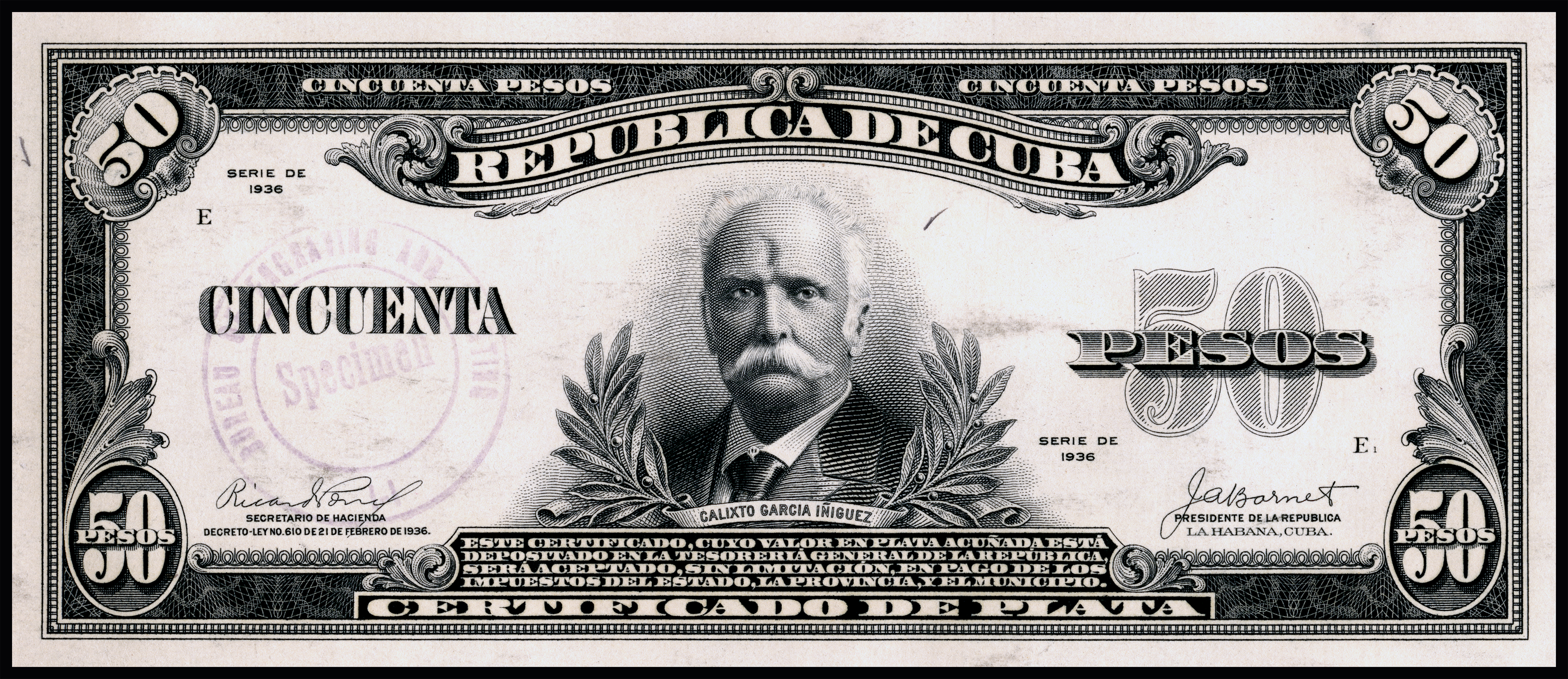 File Us Bep República De Cuba Certified Proof 50 Silver Pesos 1936 Cub 73b Jpg