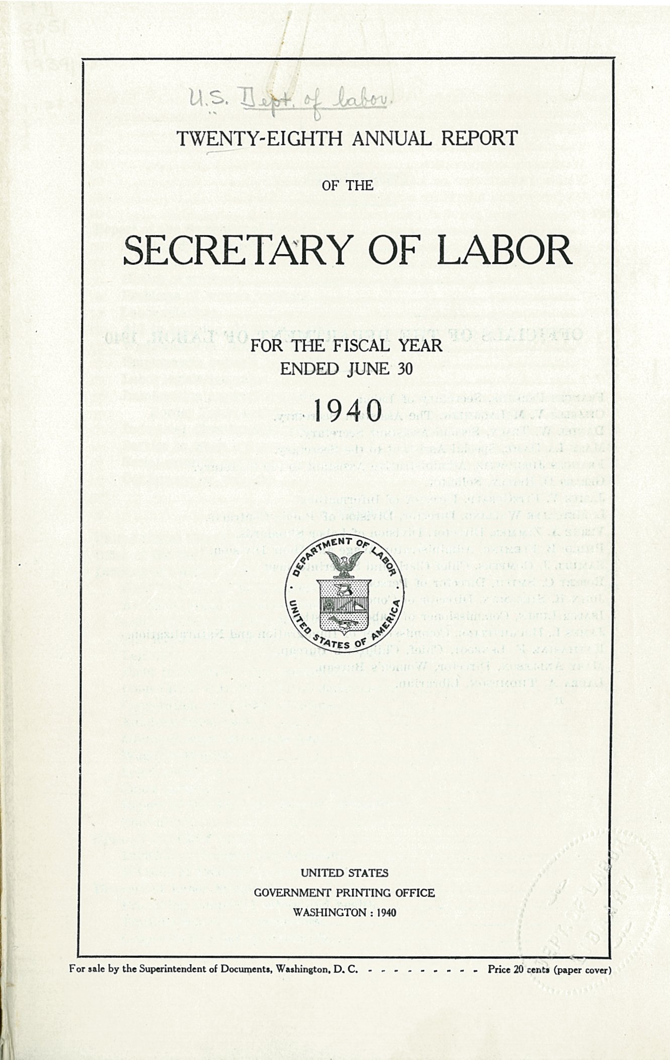 file usdol th annual report fy title page jpg file usdol 28th annual report fy 1940 title page jpg