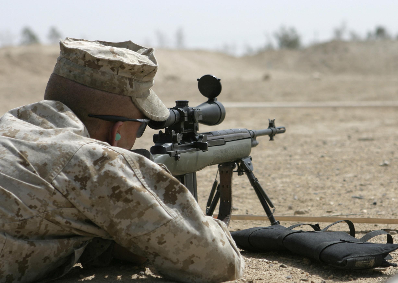 File:USMC M14 DMR.JPG M14 Sniper Rifle Usmc