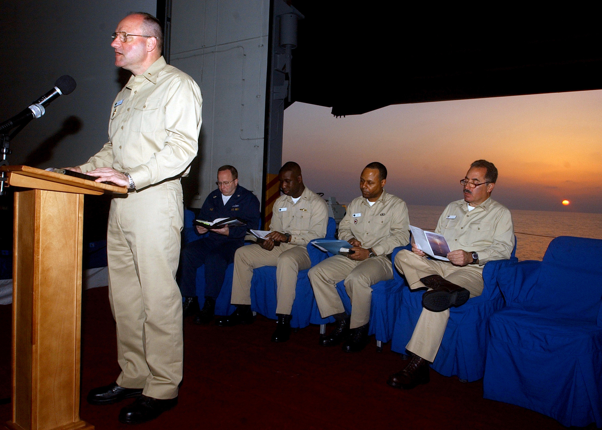 6363M-010 Chaplain, Cmdr. Donald Troast, gives opening remarks ...