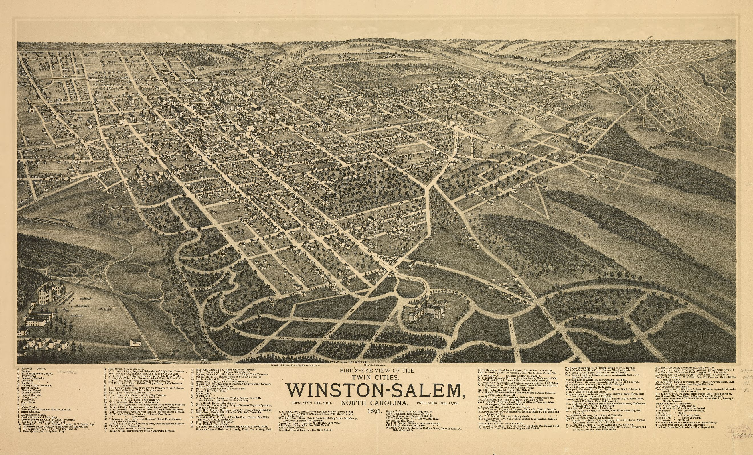 1891 Bird's eye view of the corner of Main and First Streets in Winston-Salem. Starbuck's two-story home can be seen prominiently.